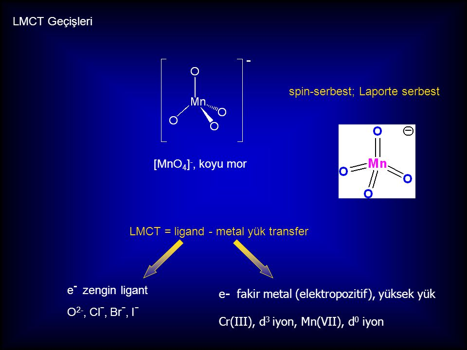 LMCT Geçişleri spin-serbest; Laporte serbest. [MnO4]-, koyu mor. LMCT = ligand - metal yük transfer.